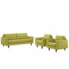 Modway Empress Sofa and Armchairs Upholstered Fabric Set of 3 in Wheatgrass MY-EEI-1314-WHE
