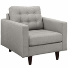 Modway Empress Upholstered Fabric Armchair in Light Gray MY-EEI-1013-LGR