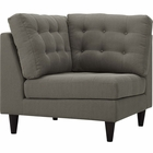 Modway Empress Upholstered Fabric Corner Sofa in Granite MY-EEI-2610-GRA