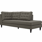 Modway Empress Upholstered Fabric Right Facing Bumper in Granite MY-EEI-2612-GRA
