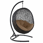 Modway Encase Swing Outdoor Patio Wicker Rattan Lounge Chair in Mocha MY-EEI-739-MOC-SET