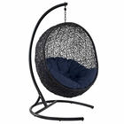 Modway Encase Swing Outdoor Patio Wicker Rattan Lounge Chair in Navy MY-EEI-739-NAV-SET
