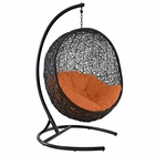 Modway Encase Swing Outdoor Patio Wicker Rattan Lounge Chair in Orange MY-EEI-739-ORA-SET