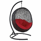 Modway Encase Swing Outdoor Patio Wicker Rattan Lounge Chair in Red MY-EEI-739-RED-SET