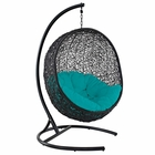Modway Encase Swing Outdoor Patio Wicker Rattan Lounge Chair in Turquoise MY-EEI-739-TRQ-SET
