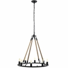 Modway Encircle Rope and Steel Chandelier in Black MY-EEI-1574