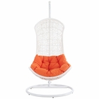Modway Endow Swing Outdoor Patio Wicker Rattan Lounge Chair in White Orange MY-EEI-805-SET