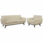 Modway Engage 2 Piece Leather Living Room Set in Beige MY-EEI-1765-BEI-SET