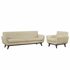 Modway Engage 2 Piece Leather Living Room Set in Beige MY-EEI-1766-BEI-SET