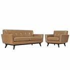 Modway Engage 2 Piece Leather Living Room Set in Tan MY-EEI-1765-TAN-SET