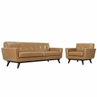 Modway Engage 2 Piece Leather Living Room Set in Tan MY-EEI-1766-TAN-SET