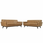 Modway Engage 2 Piece Leather Living Room Set in Tan MY-EEI-1767-TAN-SET