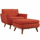 Modway Engage 2 Piece Upholstered Fabric Armchair and Ottoman in Atomic Red MY-EEI-2187-ATO-SET