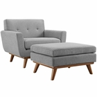 Modway Engage 2 Piece Upholstered Fabric Armchair and Ottoman in Expectation Gray MY-EEI-2187-GRY-SET
