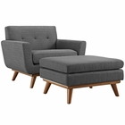 Modway Engage 2 Piece Upholstered Fabric Armchair and Ottoman in Gray MY-EEI-2187-DOR-SET