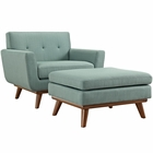 Modway Engage 2 Piece Upholstered Fabric Armchair and Ottoman in Laguna MY-EEI-2187-LAG-SET