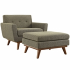 Modway Engage 2 Piece Upholstered Fabric Armchair and Ottoman in Oatmeal MY-EEI-2187-OAT-SET