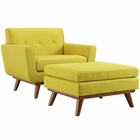 Modway Engage 2 Piece Upholstered Fabric Armchair and Ottoman in Sunny MY-EEI-2187-SUN-SET