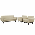 Modway Engage 3 Piece Leather Living Room Set in Beige MY-EEI-1762-BEI-SET