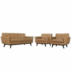 Modway Engage 3 Piece Leather Living Room Set in Tan MY-EEI-1762-TAN-SET