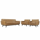 Modway Engage 3 Piece Leather Living Room Set in Tan MY-EEI-1763-TAN-SET