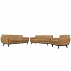 Modway Engage 3 Piece Leather Living Room Set in Tan MY-EEI-1764-TAN-SET