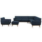 Modway Engage 5 Piece Upholstered Fabric Sectional Sofa in Azure MY-EEI-2186-AZU-SET
