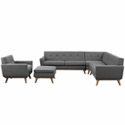 Modway Engage 5 Piece Upholstered Fabric Sectional Sofa in Expectation Gray MY-EEI-2186-DOR-SET