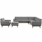 Modway Engage 5 Piece Upholstered Fabric Sectional Sofa in Gray MY-EEI-2186-GRY-SET