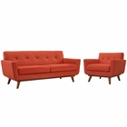 Modway Engage Armchair and Loveseat Upholstered Fabric Set of 2 in Atomic Red MY-EEI-1346-ATO