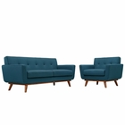 Modway Engage Armchair and Loveseat Upholstered Fabric Set of 2 in Azure MY-EEI-1346-AZU