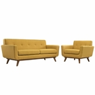 Modway Engage Armchair and Loveseat Upholstered Fabric Set of 2 in Citrus MY-EEI-1346-CIT