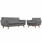 Modway Engage Armchair and Loveseat Upholstered Fabric Set of 2 in Expectation Gray MY-EEI-1346-GRY
