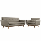 Modway Engage Armchair and Loveseat Upholstered Fabric Set of 2 in Granite MY-EEI-1346-GRA