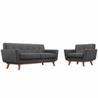 Modway Engage Armchair and Loveseat Upholstered Fabric Set of 2 in Gray MY-EEI-1346-DOR