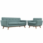 Modway Engage Armchair and Loveseat Upholstered Fabric Set of 2 in Laguna MY-EEI-1346-LAG