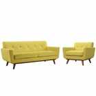 Modway Engage Armchair and Loveseat Upholstered Fabric Set of 2 in Sunny MY-EEI-1346-SUN