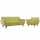 Modway Engage Armchair and Loveseat Upholstered Fabric Set of 2 in Wheat MY-EEI-1346-WHE