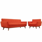 Modway Engage Armchair and Sofa Upholstered Fabric Set of 2 in Atomic Red MY-EEI-1344-ATO