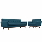 Modway Engage Armchair and Sofa Upholstered Fabric Set of 2 in Azure MY-EEI-1344-AZU