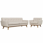 Modway Engage Armchair and Sofa Upholstered Fabric Set of 2 in Beige MY-EEI-1344-BEI