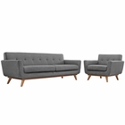 Modway Engage Armchair and Sofa Upholstered Fabric Set of 2 in Expectation Gray MY-EEI-1344-GRY