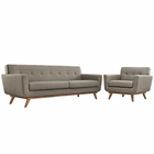Modway Engage Armchair and Sofa Upholstered Fabric Set of 2 in Granite MY-EEI-1344-GRA