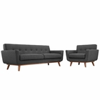 Modway Engage Armchair and Sofa Upholstered Fabric Set of 2 in Gray MY-EEI-1344-DOR