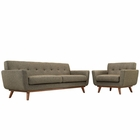 Modway Engage Armchair and Sofa Upholstered Fabric Set of 2 in Oatmeal MY-EEI-1344-OAT