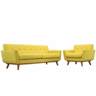 Modway Engage Armchair and Sofa Upholstered Fabric Set of 2 in Sunny MY-EEI-1344-SUN