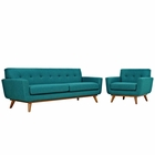 Modway Engage Armchair and Sofa Upholstered Fabric Set of 2 in Teal MY-EEI-1344-TEA