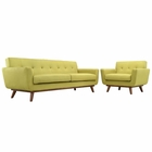 Modway Engage Armchair and Sofa Upholstered Fabric Set of 2 in Wheatgrass MY-EEI-1344-WHE