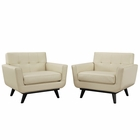 Modway Engage Armchair Leather Set of 2 in Beige MY-EEI-1665-BEI-SET