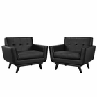 Modway Engage Armchair Leather Set of 2 in Black MY-EEI-1665-BLK-SET